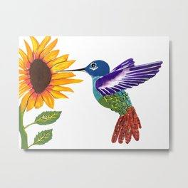 The Sunflower And The Hummingbird Metal Print