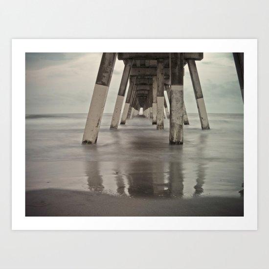Long Exposure Johnny Mercer's Pier Wrigthsville Beach, NC Art Print