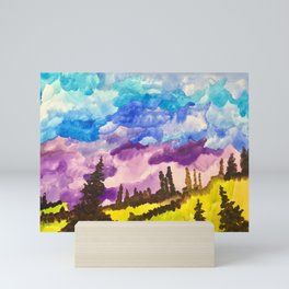 Cloudy day on the valley Mini Art Print