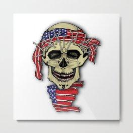 American human skull with bandana Metal Print