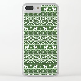 Bichon Frise christmas fair isle green dog silhouette minimal winter sweater holiday Clear iPhone Case
