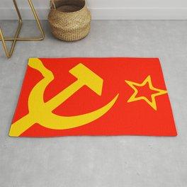 Star, Hammer and Sickle. USSR, Soviet Union flag. Rug