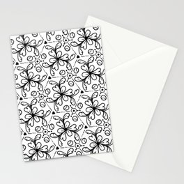 Pentagon Flower Black & White Stationery Cards