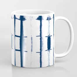 Shibori Stripes 4 Indigo Blue Coffee Mug