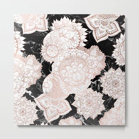 Modern rose gold floral mandala chic marble Metal Print