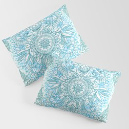 Turquoise Blue, Teal & White Protea Doodle Pattern Pillow Sham