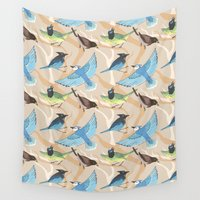 jay fleck Wall Tapestries featuring Jay Pattern by C. Reeder