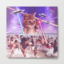 cat invader from space galaxy marsians attacking beach Metal Print