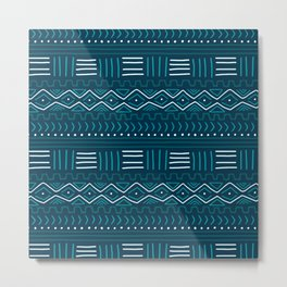 Mudcloth on Teal Metal Print