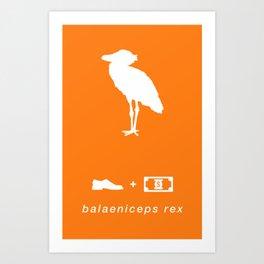 shoebill orange Art Print