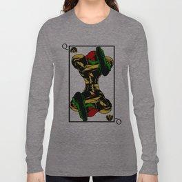 samus playing card queen Long Sleeve T-shirt
