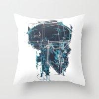 blueprint Throw Pillows featuring Cranial Blueprint by James Beech