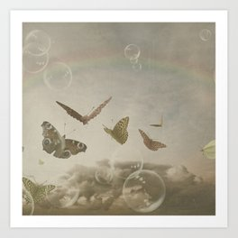 BUTTERFLIES DANCE WITH THE RAINBOW Art Print