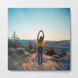 """Golden Hour Girl"" - Sunset in Bend, Oregon Metal Print"