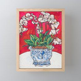 Orchid in Blue-and-white Bird Pot on Red after Matisse Framed Mini Art Print