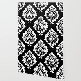 Decorative Damask Art I White on Black Wallpaper