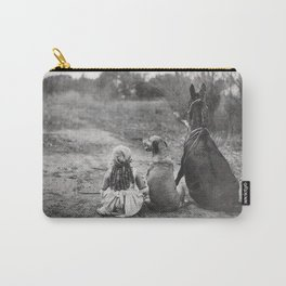 A Girl, Her Dog, and Her Horse wonderful black and white photograph - photography Carry-All Pouch