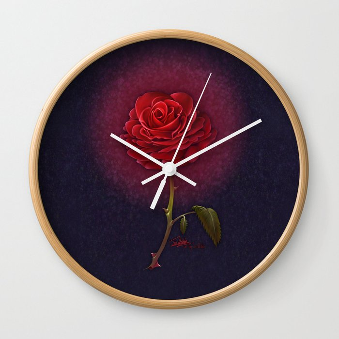 Beauty And The Beast Enchanted Rose Wall Clock