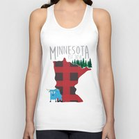 minnesota Tank Tops featuring Minnesota Lumberjack by Sara Hynes Designs