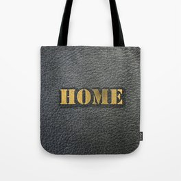 HOME black leather gold letters Tote Bag