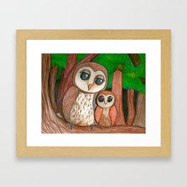 Owl Family Framed Art Print