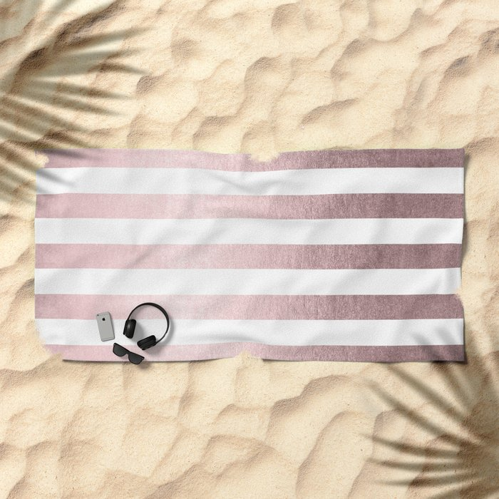 Simply Striped Rose Gold Palace Beach Towel