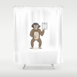 clever monkey with diploma Shower Curtain