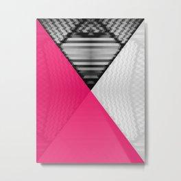 Black White and Bright Pink Metal Print