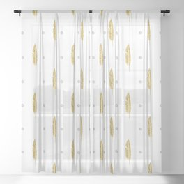 Gold Feathers Silver Pearls On White Sheer Curtain