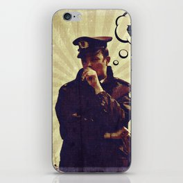 Police officer thinking about recycle iPhone Skin