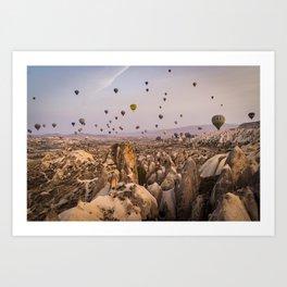 Flight above the mountains Art Print