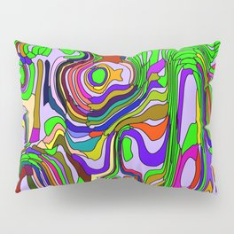 Abstract interweaving of green spots from pastel flowing lava and vertical symmetrical blots. Pillow Sham