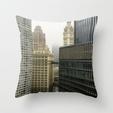 Chicago Buildings in Fog Color Photo Throw Pillow
