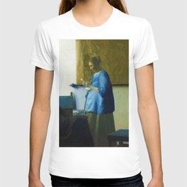 """Johannes Vermeer """"Woman in Blue Reading a Letter"""" T-shirt"""