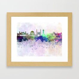 Hyderabad skyline in watercolor background Framed Art Print