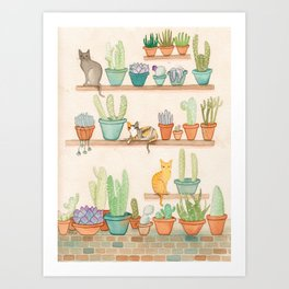 Cats in the Cactus Room Art Print
