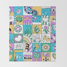 Inchie Doodle Design - Aqua Yellow - Spring Throw Blanket