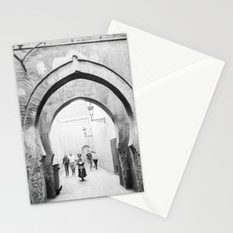 Black and white street photography | Medina of Marrakech | Travel photo print Stationery Cards