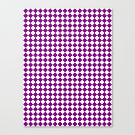 Small Diamonds - White and Purple Violet Canvas Print