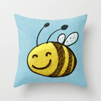 bee Throw Pillows featuring Bee by MaComiX