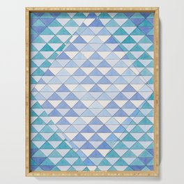 Triangle Pattern No. 9 Shifting Blue and Turquoise Serving Tray