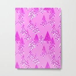 Modern Flower Christmas Trees, Orchid Pink Metal Print