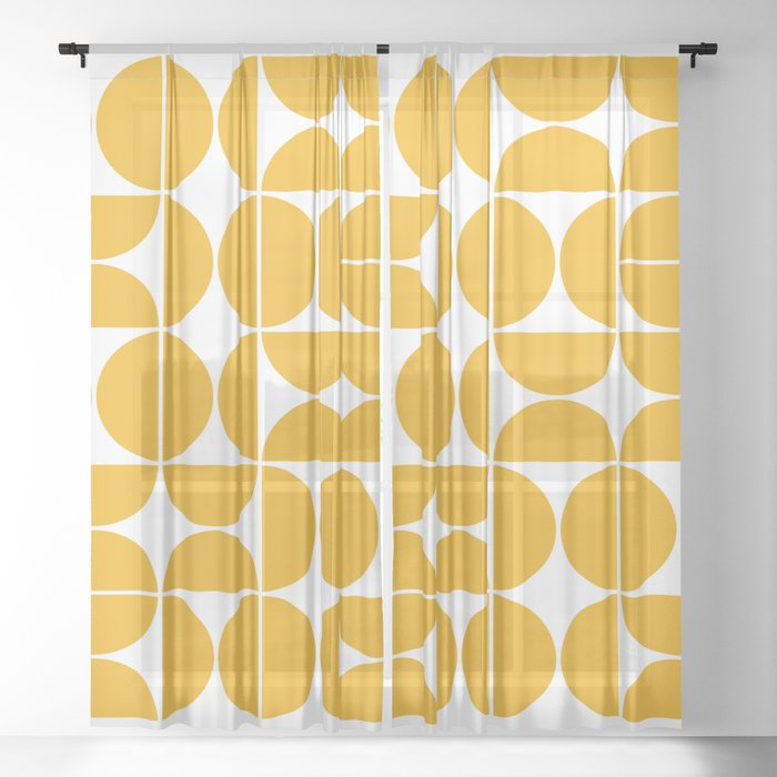 Mid Century Modern Geometric 04 Yellow Sheer Curtain