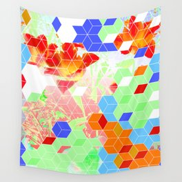 Pop Floral Cube Pattern 2  #fashion #pattern #lifestyle Wall Tapestry