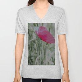 Pink poppy in a field Unisex V-Neck