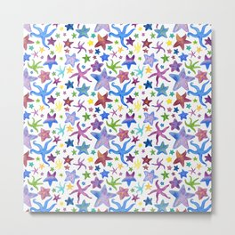 Rainbow Watercolor Starfish Pattern - White Metal Print