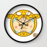 finn and jake Wall Clocks featuring Jake & Finn  by Miguel Manrique
