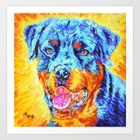 rottweiler Art Prints featuring Rottweiler by LiliyaChernaya