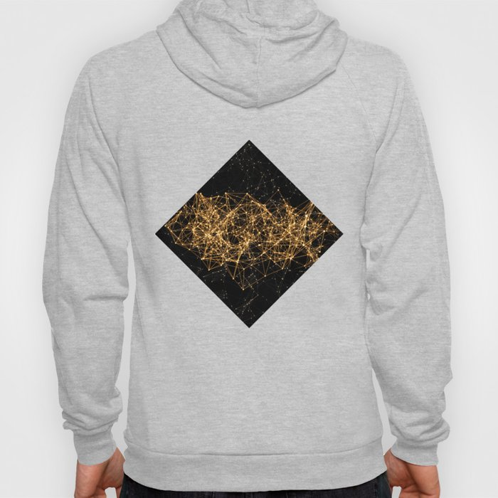 Shiny golden dots connected lines on black Hoody