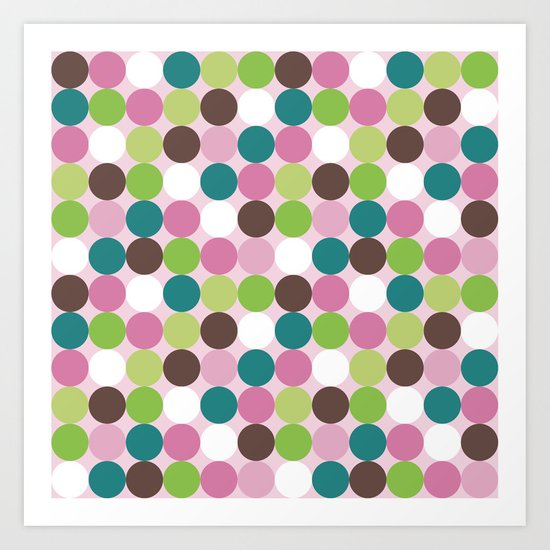 Cute retro dots in pink and cyan Art Print